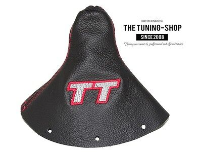 "For Audi TT 1998-2006 Gear Gaiter Black Leather ""TT"" Grey Embroidery"