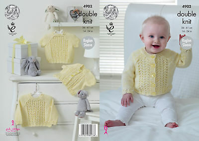 King Cole Baby Double Knitting DK Pattern Round Neck Cardigans Sweaters 4902