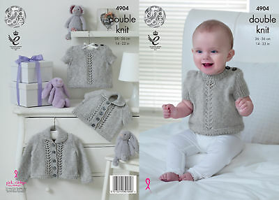 King Cole Baby Pure Double Knitting DK Pattern Collared Cardigans Sweaters 4904