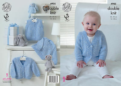 King Cole Baby Pure Double Knitting DK Pattern Slipover Cardigan Sweater 4905