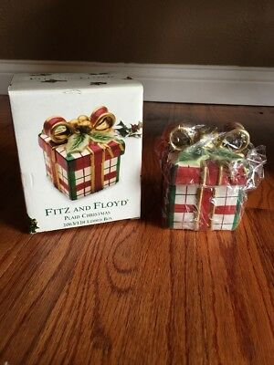 Fitz and Floyd Plaid Christmas Lidded Box - New in Original Box