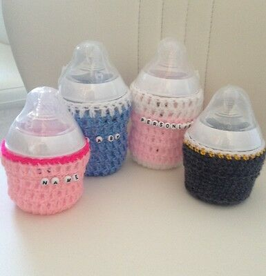 SALE  £4.25  handmade crochet personalised baby bottle cover