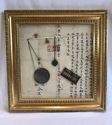 Vintage Chinese Framed Land Deed With Opium Scale dated late 1800s