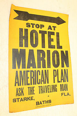 Vintage Original Starke, Fl Hotel Marion Paper Advertising Sign