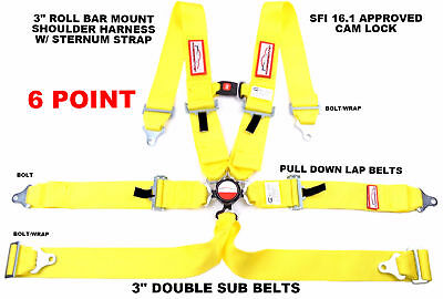 "Yellow Six Point Racing Harness Sfi 16.1 W/ Chest Strap 3"" Cam Lock"