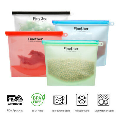 4X Kitchen Silicone Food Bag Reusable Seal Storage Container Freezer Leak-Proof