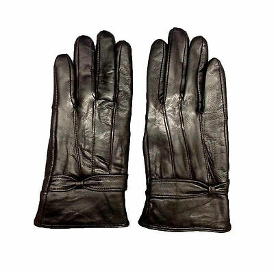 Ladies Womens Leather Gloves Fleece Lined Driving Soft Genuine Winter Warm Black