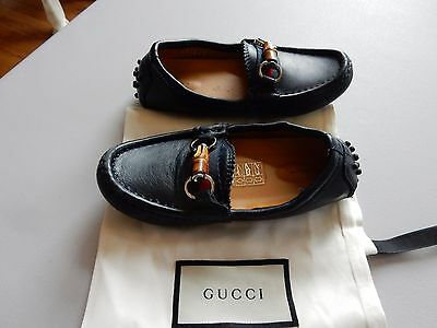 0cef4e2cf28  280 Gucci Navy Blue Leather Bamboo Horsebit Detail Loafers Boys Size 25 US  8.5