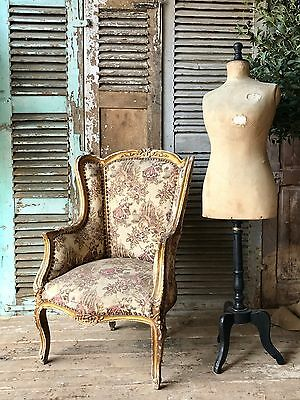 Antique French Louis XV Gilt Wingback Chair