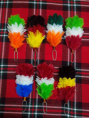 """Glengarry Feather Plume Hackle Multi Color Various Design/Balmoral Cap & Hats 6"""""""