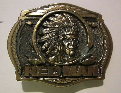 NEW-RED MAN CHEWING TOBACCO-3-D-1988 Heavy SOLID BRASS**BELT BUCKLE<BTS Buckle>