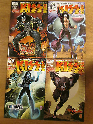 KISS SOLO 1 2 3 4; Gene Paul Ace Peter Jetpack variant cover set IDW comics