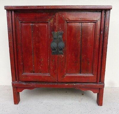 19Th C Chinese Coromandel Red Peasant Cabinet W Bold Iron Pulls & Gilt Paint P