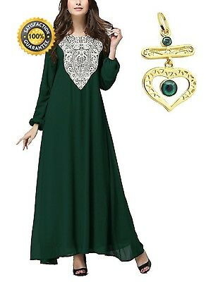 M-Queen Muslim Dress Women Long Sleeve Kaftan Abaya Middle East Arab Islamic...