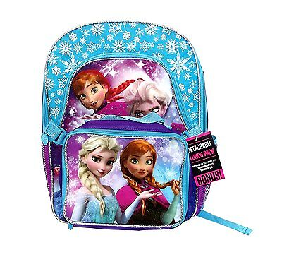 """Disney Frozen Girls 16"""" Deluxe Backpack with Removable Lunch Tote"""