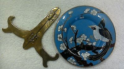 5.5 inch Cloisonne plate with stand bird & cherry blossoms light blue background