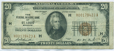 1929 $20 Twenty Dollar Bill National Currency Brown Seal Note - St. Louis, MO