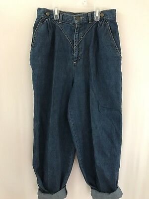Vtg High Waisted Calvin Klein Blue Jeans 24/25 Cropped With Suspender Rivets