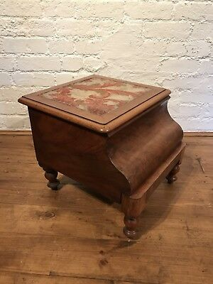Vtg Antique French Victorian Mahogany Walnut Commode Tapestry Planter