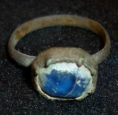 VIKING Bronze RING - Blue Stone / Gem - Circa 8th - 10th Century AD     *11