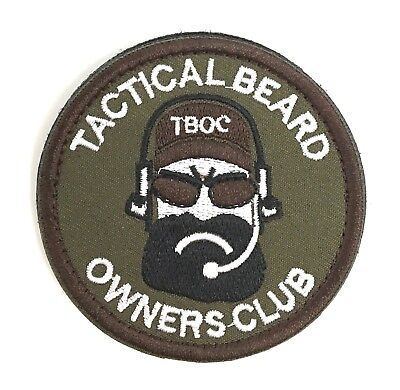 "Tactical Beard Owners Club Embroidered Patch 2.75"" SHIPS FROM THE U.S.!!!"