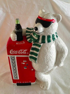 "Gibson  COCA  COLA ""Cool Break"" POLAR BEAR  Vending Machine Cookie Jar Ceramic"