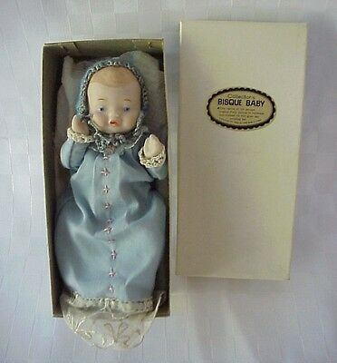 "Vintage Shackman Bisque Baby Doll Replica Handmade Antique 5 ½"" Blue Dress"