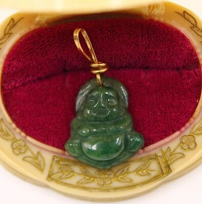 Antique 14K Gold & Jadeite Buddha Charm/Pendant Beautiful Carving!