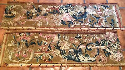 Belgian 16th Century Floral Tapestry Fragments Finely Woven