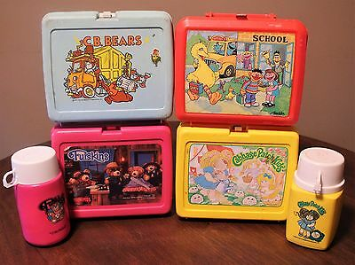 Vintage Plastic Lunch Box For Sesame Street, C.B. Bears, Furskins, Cabbage Patch