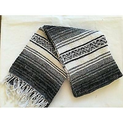 MEXIMART's Authentic Mexican Falsa Blanket Hand Woven (Black) New