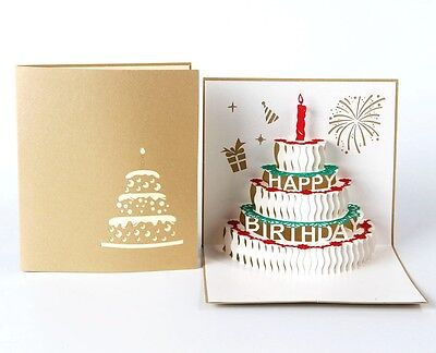Happy Birthday Cake 3D Pop Up Greeting Card, Gold Color Cover - 1 Pack