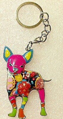 Large Standing Chihuahua Dog Pup Enamel Alloy Colorful Key Ring Keychain