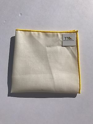 NEW-100% White Linen Pocket Square with Yellow Trim
