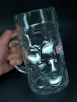 Huge Vintage MOTHER'S PIZZA PASTA RESTAURANT Dimpled Glass 1L Beer Mug Canada