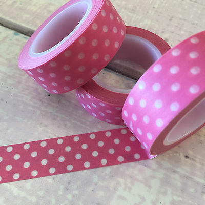 Washi Tape Polka Dots On Candy Pink 15Mm Wide X 10Mtr Roll Plan Craft Wrap Scrap