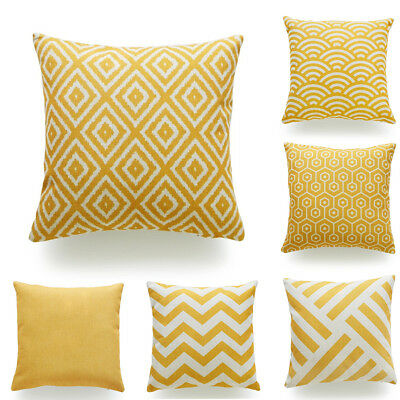 Throw Pillow Case Mustard Yellow Heavy Weight Fabric Cushion Cover Decorative LO