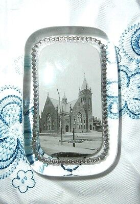 Antique Glass Souvenir Paperweight Bosselman Presbyterian Church Denver Colorado