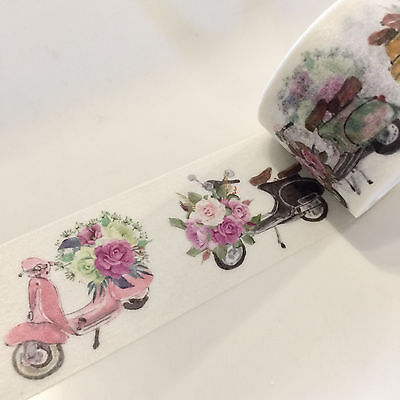 Washi Tape Wide Floral Scooters Mopeds 30Mm Wide X 5Mtr Scrap Plan Craft Wrap