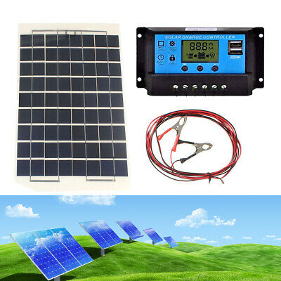 10W 12V Cell Solar Panel Module Battery Charger Camping Cable + USB Controller