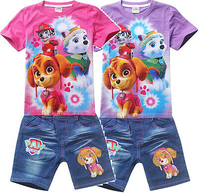 Girls Paw Patrol skye pink purple top tee denim shorts set outfit summer size2-6
