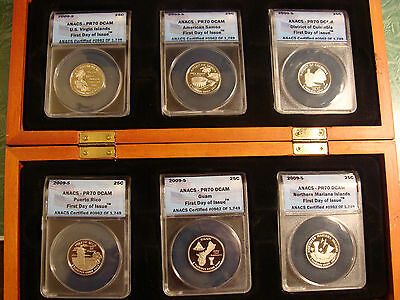 2009-S ANACS First Day Of Issue PR70 6 Territorial Quarters Set + Mahogany Box
