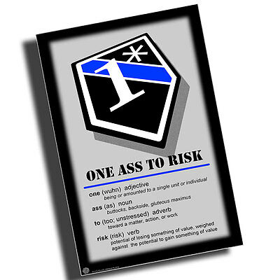 Definition of One Ass To Risk Thin Blue line 1* 8x12 Inch Aluminum Sign