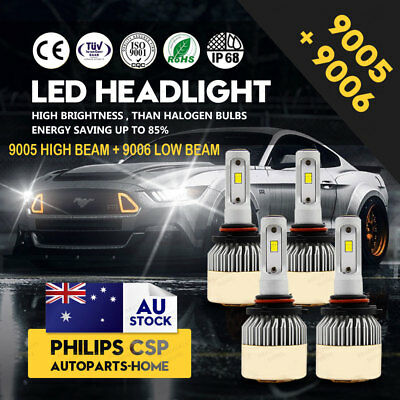 9005/HB3 + 9006/HB4 504W LED Globes Headlight Kit Car Beam Bulbs Headlamp 6000K