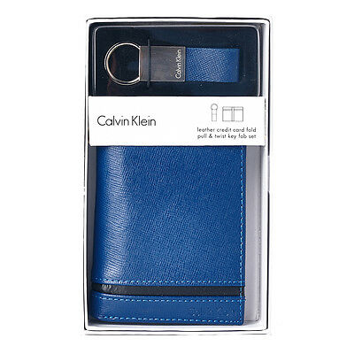 Calvin Klein Men's Leather Ck Bifold Gift Wallet With Key Fob Navy Blue 79487