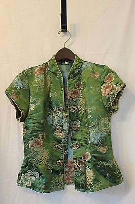 Yen's Traditional Chinese Silk Jacket Blouse Women, Size M, Green Floral Pattern