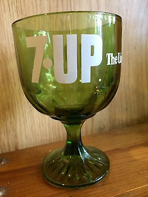 """VINTAGE 7-Up The Uncola Stem Goblet Green Glass W/ White Logo 6"""" Tall"""
