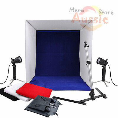 40cm Photo Studio Soft Box Light Tent Lighting Cube Kit Camera Stand 4 Backdrops