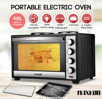 48L Portable Electric Oven Convection Microwave Oven Toaster 2 Hotplates Layers
