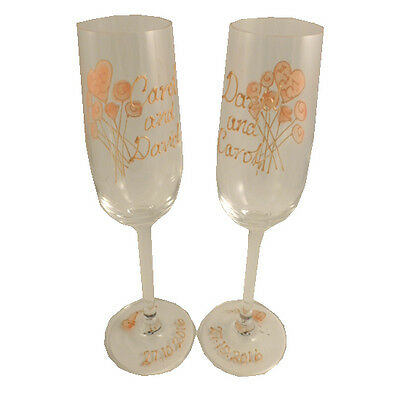 Personalised 35th Wedding Anniversary Gift Pair of Champagne Flutes Flower